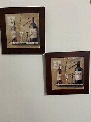 Kitchen Wall Decor Wine Bottle Theme Wood Frame Set Of 2 Pictures
