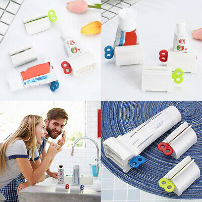 US 3-6 Pack Rolling Tube Toothpaste Squeezer Easy Dispenser Seat Holder Stand