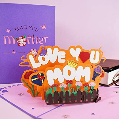 Pop Up Mothers Day Card Chris-W Love You Mom Greeting Card Carnation Card For