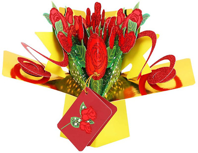 Hohomark Red Roses Pop Up Card 6-5x8-5 Mothers Day Pop Up Cards for Mom from D