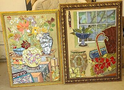 OOAK FRAMED ORIENTAL Ceramic Mosaic Collage Art Framed Wall art Imrpressionist
