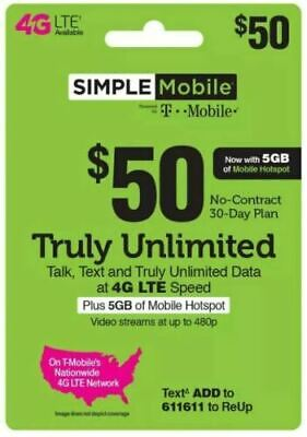 Simple Mobile Refill 50 Direct ReUp service - UNLIMITED 4GLTE -5gb HOTSPOT