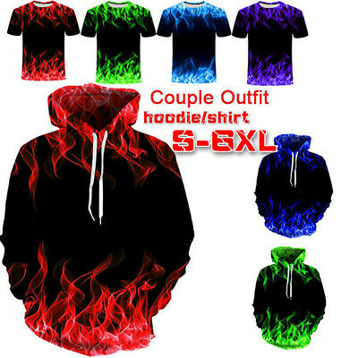 S-5XL Fashion Couple Outfit Flame 3D Printed Hoodies and T shirt Pullover Hoodie