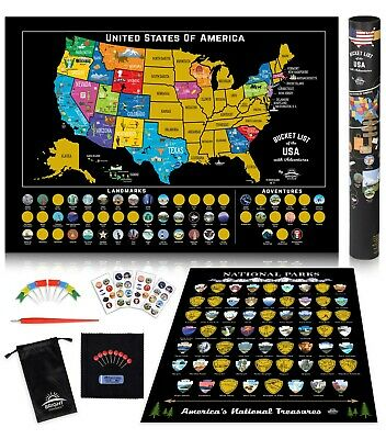 Scratch Off Map United States - US National Parks Poster USA Travel Bucket List