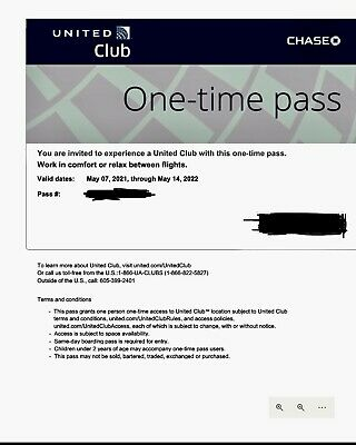 United Club One-Time Lounge Pass Expire 05142022 - Fast email delivery
