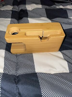 Apple Watch iPhone Bamboo Wood Charging Station Charger Dock Stand Holder
