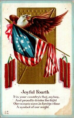 Patriotic Postcard - Fourth of July - Poetry - Bald Eagle Fireworks - Unposted