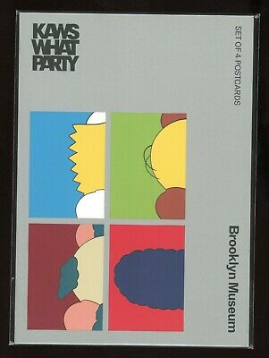 KAWS x BROOKLYN MUSEUM WHAT PARTY SET OF 4 KIMPSONS POSTCARD NEW in PACKAGE