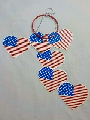 New - Metal Heart Shaped Flag Wind Chime - 4th of July - Outside -
