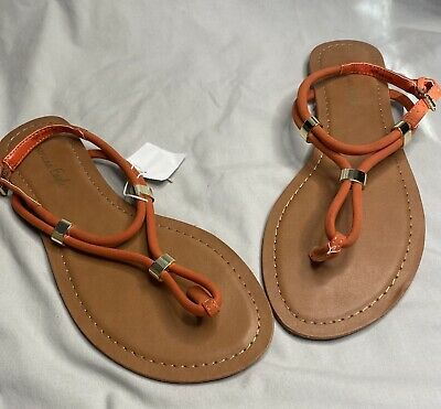 American Eagle Womens Orange Strappy Sandals Thong Shoes Sz 8 Ankle Strap NWT