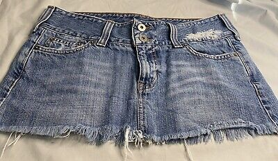 Hollister womens denim micro mini skirt distressed Destroyed Faded Ripped Sz 5