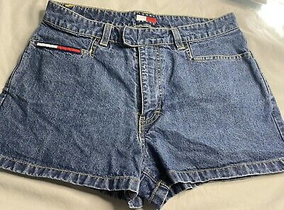 womens Tommy Hilfiger Tommy Jeans denim shorts faded Sz 7 Front Pockets Logo