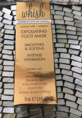 WHISH Exfoliating Foot Mask Full Size 2-5 oz New Sealed Coconut And Verbena
