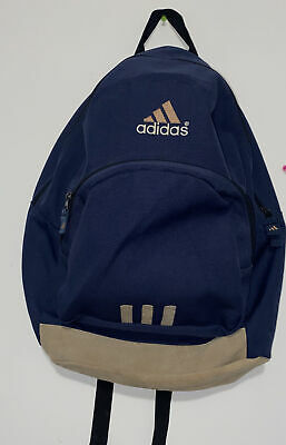 Adidas Navy Blue And Tan Backpack School Bag Laptop Bag Leather Bottom