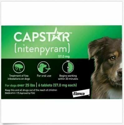 New Capstar Fast-Acting Oral Flea Treatment for Large Dogs 6 Doses Exp 0423