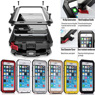 For iphone 6s 6s Plus Aluminum Shockproof Metal Case With Glass Screen Protector