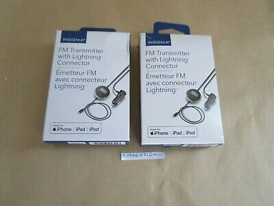 Lot of 2 Insignia FM Transmitter with Lightning Connector- NS-MA5FMT2