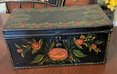 Antique Toleware Tin Box American Painted Floral Decoration 19th Century Box