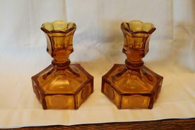 2 Vintage Fostoria Coin Glass Candle Holders Amber
