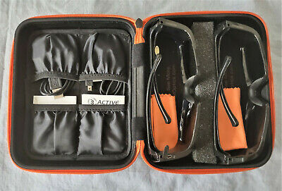 2 Pair Premium Active 3D Glasses in Padded Case w chargers - Open Box
