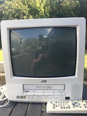 JVC VCR VHS TV 13142 CRT  Retro TV Gaming 13 w Remote White Tested and Working