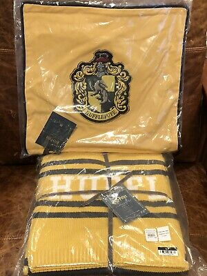 NEW Pottery Barn Teen Harry Potter Hufflepuff Knit Throw Blanket - Pillow Cover