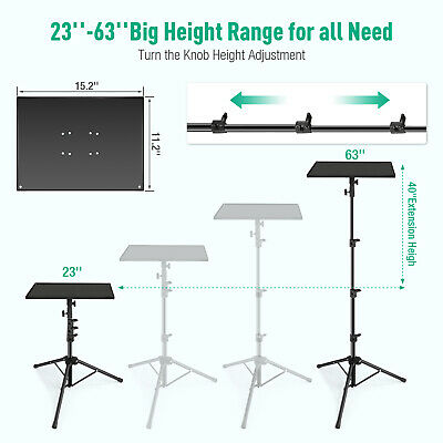 Adjustable Projector Tripod Stand With Tray Laptop Camera Outdoor Home Office