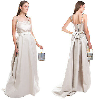RRP€3660 LANVIN Fit - Flare Wedding Dress Size 38 M Contrast Silk Made in France