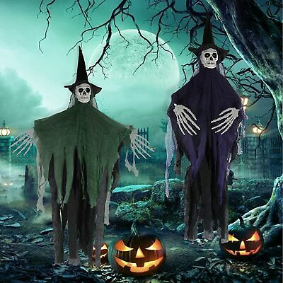 2 Hanging Witch Skeleton Scary Props 41 Halloween Decorations Outdoor Clearance