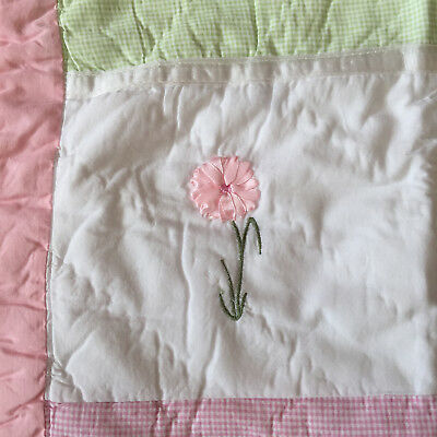 Girls EMBROIDERED FLOWERS 1 Std QUILTED PILLOW SHAM Pink Green RIBBON Cotton New