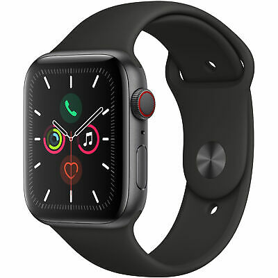 Apple Watch Series 5 44mm Space Gray Aluminum Case Black Sport Band GPS - CELL