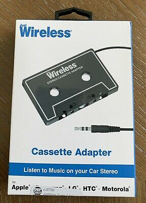 Cassette Adapter by Just Wireless Listen to Music Through Car Stereo NEW