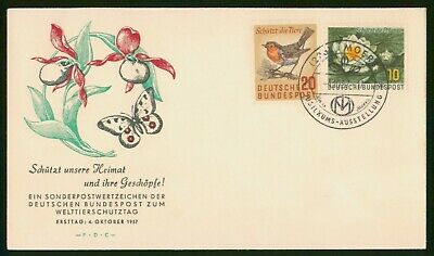 Mayfairstamps Germany FDC 1957 Flowers Bird First Day Cover wwp-86335