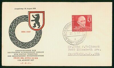 MayfairStamps Germany 1958 Dr- Otto Suhr Memorial First Day Cover wwr5477