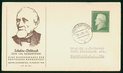 MayfairStamps Germany 1958 Schulze-Delitzsch First Day Cover wwr5479