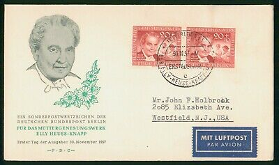 MayfairStamps Germany 1957 Elly Heuss-Knapp Pair First Day Cover wwr5485