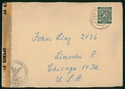 MayfairStamps Germany 1947 Berlin to Chicago Illinois Civil Censorship Cover wwr