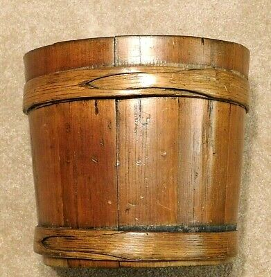 Antique Shaker Bucket Pail w Bentwood Straps Holding Fitted Vertical Wood Slats