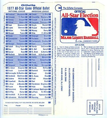 1977 MLB BASEBALL ALL-STAR GAME MINT UNUSED FAN BALLOTNEW YORK YANKEES STADIUM