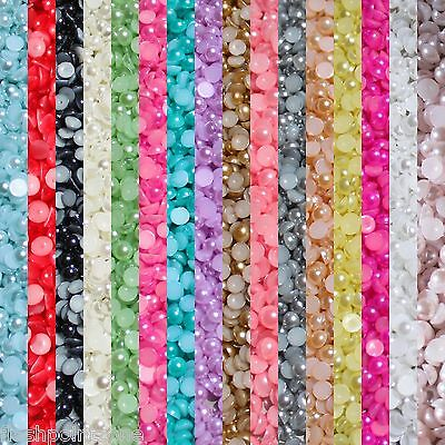 1000 Half Pearl Beads Flat Back Craft  Scrapbooking Choose Your  Color And Size