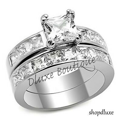 3-75 Ct Princess Cut AAA CZ Stainless Steel Wedding Ring Set Womens Size 5-10