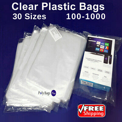 Clear Assorted Sizes Poly Plastic 1-Mil Packing Bags Open Top Baggies