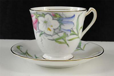 Vintage Bell English China Teacup - Saucer Hand Painted Pink Blue Floral