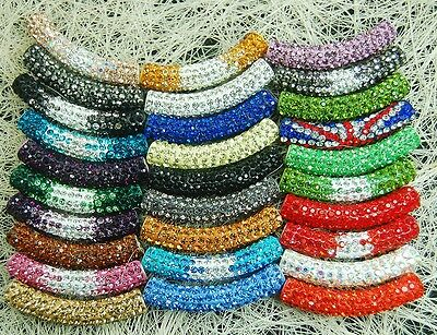 Curved Czech Crystal Rhinestone Pave Tube Bracelet Connector Charm Beads 36color
