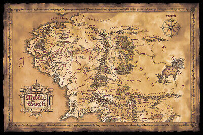 The Lord Of The Rings  The Hobbit - Movie Poster Dark Map Of Middle Earth