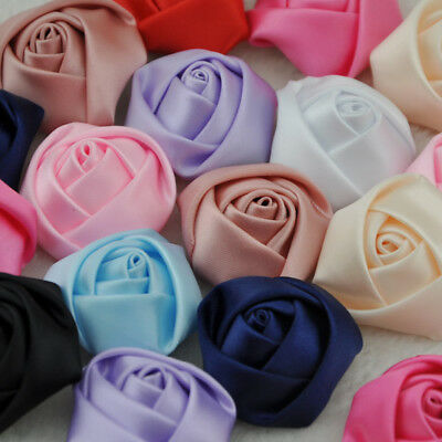 1020100 pcs Big Satin Ribbon Rose Flower DIY Craft Wedding Appliques Lots A007