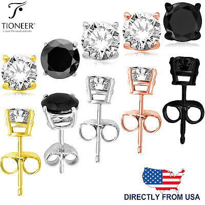Sterling Silver 925 Rose Gold Black or Silver Round Cut CZ Stud Earrings