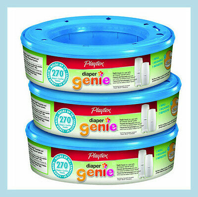 3x Playtex Diaper Genie 270 count  Refill cassettesTotal of 810