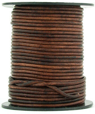 Xsotica® Brown Distressed Round Leather Cord 1mm 10 meters 11 yards