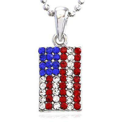 Patriotic 4th of July Red White Blue American USA US Flag Star Necklace Pendant